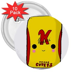 Kawaii Cute Tennants Lager Can 3  Buttons (10 Pack)  by CuteKawaii1982