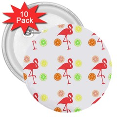 Flamingo Tropical Fruit Pattern 3  Buttons (10 Pack)