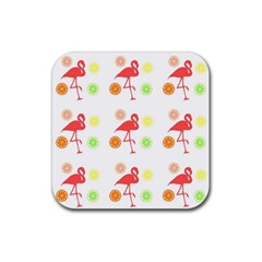 Flamingo Tropical Fruit Pattern Rubber Square Coaster (4 Pack)
