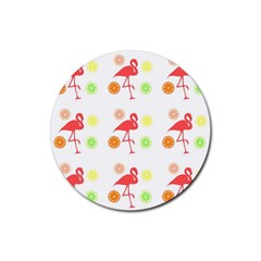 Flamingo Tropical Fruit Pattern Rubber Round Coaster (4 Pack)