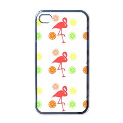 Flamingo Tropical Fruit Pattern Apple Iphone 4 Case (black)
