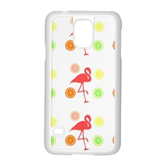 Flamingo Tropical Fruit Pattern Samsung Galaxy S5 Case (white) by CrypticFragmentsColors
