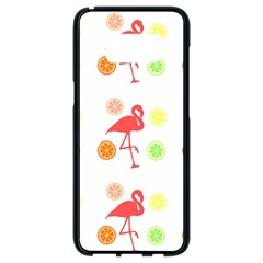 Flamingo Tropical Fruit Pattern Samsung Galaxy S8 Black Seamless Case