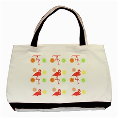Flamingo Tropical Fruit Pattern Basic Tote Bag (two Sides) by CrypticFragmentsColors