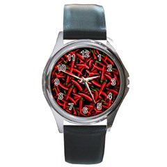Red Chili Peppers Pattern Round Metal Watch