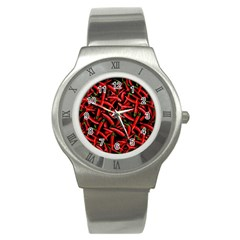 Red Chili Peppers Pattern Stainless Steel Watch