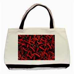 Red Chili Peppers Pattern Basic Tote Bag