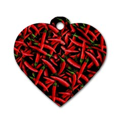 Red Chili Peppers Pattern Dog Tag Heart (two Sides)