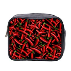 Red Chili Peppers Pattern Mini Toiletries Bag 2 Side