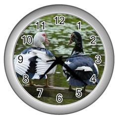 Muscovy Ducks At The Pond Wall Clock (silver)