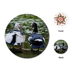 Muscovy Ducks At The Pond Playing Cards (round)