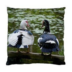 Muscovy Ducks At The Pond Standard Cushion Case (two Sides) by ImphavokImpressions