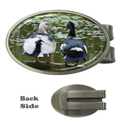 Muscovy Ducks At The Pond Money Clips (oval)  by ImphavokImpressions