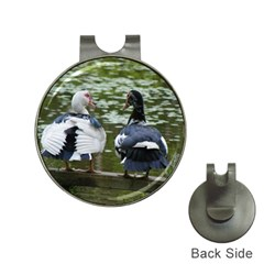 Muscovy Ducks At The Pond Hat Clips With Golf Markers by ImphavokImpressions