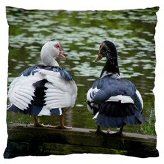 Muscovy Ducks At The Pond Standard Flano Cushion Case (two Sides)