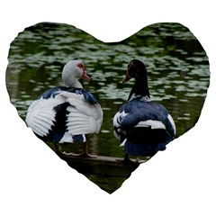 Muscovy Ducks At The Pond Large 19  Premium Flano Heart Shape Cushions by ImphavokImpressions