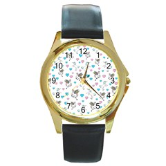 Unicorn, Pegasus And Hearts Round Gold Metal Watch