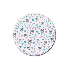 Unicorn, Pegasus And Hearts Rubber Round Coaster (4 Pack)
