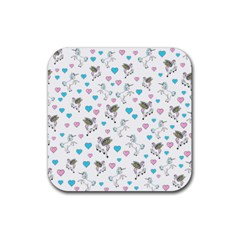 Unicorn, Pegasus And Hearts Rubber Square Coaster (4 Pack)