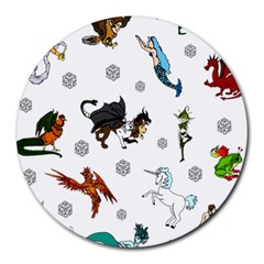 Dundgeon And Dragons Dice And Creatures Round Mousepads