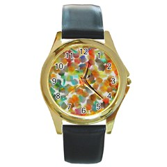 Colorful Paint Brushes On A White Background                                        Round Gold Metal Watch