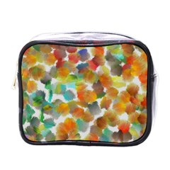 Colorful Paint Brushes On A White Background                                        Mini Toiletries Bag (one Side)
