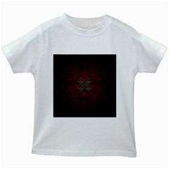 Decorative Celtic Knot On Dark Vintage Background Kids White T Shirts