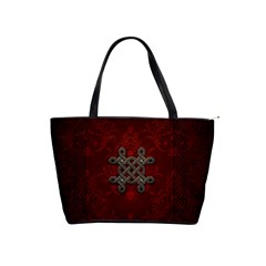 Decorative Celtic Knot On Dark Vintage Background Shoulder Handbags