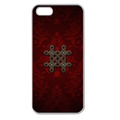 Decorative Celtic Knot On Dark Vintage Background Apple Seamless Iphone 5 Case (clear) by FantasyWorld7