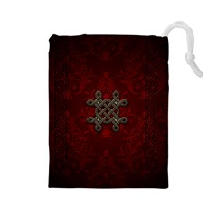 Decorative Celtic Knot On Dark Vintage Background Drawstring Pouches (large)
