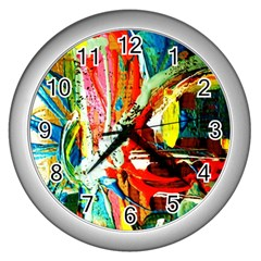 Red Aeroplane 2 Wall Clock (silver)