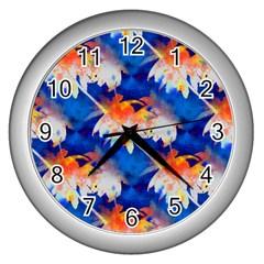 Palm Trees Tropical Beach Sunset Wall Clock (silver)