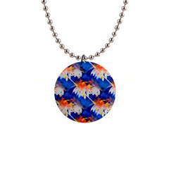 Palm Trees Tropical Beach Sunset 1  Button Necklace