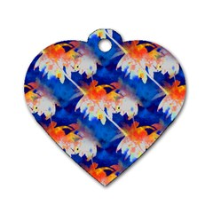 Palm Trees Tropical Beach Sunset Dog Tag Heart (two Sides)