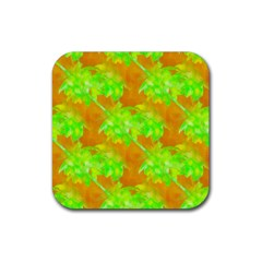 Coconut Palm Trees Caribbean Vibe Rubber Square Coaster (4 Pack)