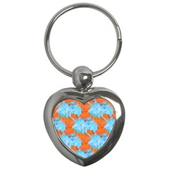 Coconut Palm Trees Tropical Dawn Key Chains (heart)  by CrypticFragmentsColors