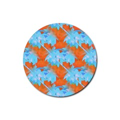 Coconut Palm Trees Tropical Dawn Rubber Round Coaster (4 Pack)