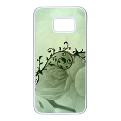 Elegant, Decorative Floral Design In Soft Green Colors Samsung Galaxy S7 White Seamless Case by FantasyWorld7