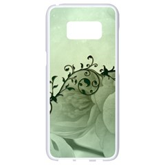 Elegant, Decorative Floral Design In Soft Green Colors Samsung Galaxy S8 White Seamless Case by FantasyWorld7