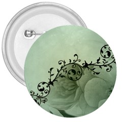 Elegant, Decorative Floral Design In Soft Green Colors 3  Buttons