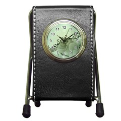 Elegant, Decorative Floral Design In Soft Green Colors Pen Holder Desk Clock