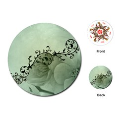 Elegant, Decorative Floral Design In Soft Green Colors Playing Cards (round)