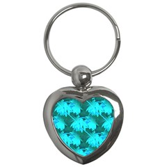 Coconut Palm Trees Caribbean Sea Key Chains (heart)  by CrypticFragmentsColors