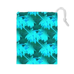 Coconut Palm Trees Caribbean Sea Drawstring Pouches (large)