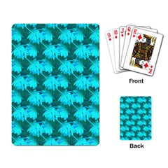 Coconut Palm Trees Blue Green Sea Small Print Playing Card