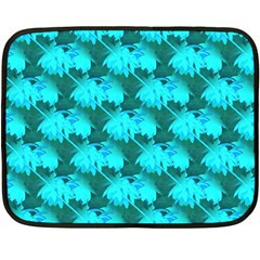 Coconut Palm Trees Blue Green Sea Small Print Double Sided Fleece Blanket (mini)