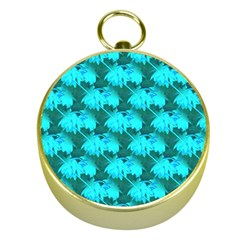 Coconut Palm Trees Blue Green Sea Small Print Gold Compasses