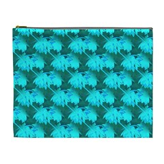 Coconut Palm Trees Blue Green Sea Small Print Cosmetic Bag (xl)