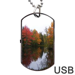 Autumn Pond Dog Tag Usb Flash (two Sides) by IIPhotographyAndDesigns