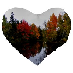 Autumn Pond Large 19  Premium Flano Heart Shape Cushions by IIPhotographyAndDesigns